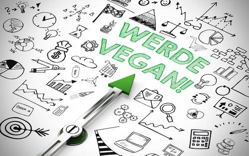 Werde Vegan! auf einem Kompass mit Icons als veganer Ernährung Konzept