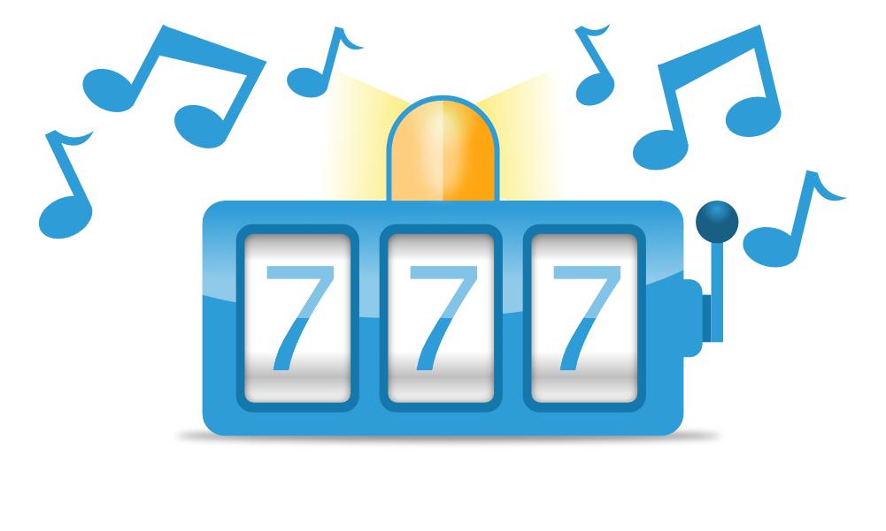 Bei Gewinnkombinationen ertönen an Spielautomaten oft überschwängliche Melodien, die die große Freude des Spielers unterstützen sollen.