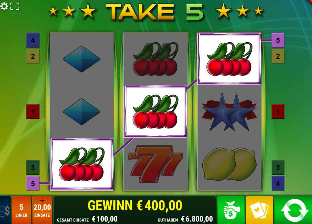 Take 5 Beim Win Repeater setzt Take 5 auf das Glücksradspiel