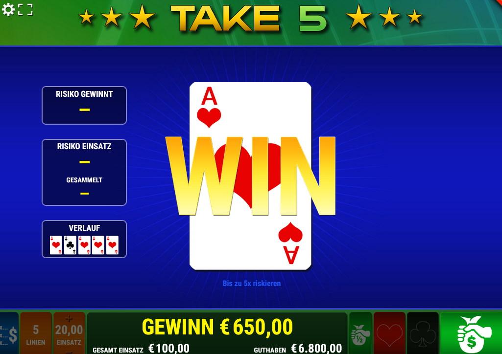 Take 5 Risikoleiter oder Kartenfarbenraten bei Take 5